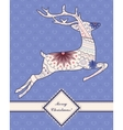 Vintage background with jumping deer vector image