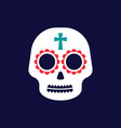 white sugar skull icon on dark background vector image