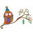 Winter Owl cartoon vector image vector image