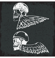 biker theme label with wings and skulls vector image