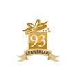93 years gift box ribbon anniversary vector image vector image