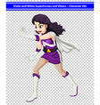 A female violet and white superhero vector image vector image