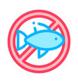 allergen free sign fish thin line icon vector image vector image