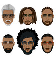 bearded african men hipsters with different vector image