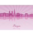 Bergen skyline in purple radiant orchid vector image vector image