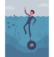 Businessman drowning chained with a weight Sin vector image vector image