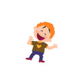 cartoon character to a cheerful boy vector image vector image