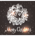 Christmas Card With Sketch Wreath vector image vector image