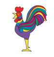 cock colorful bright image white background vector image vector image