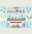 colorful fitness infographic horizontal banners vector image vector image
