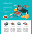 cooking food isometric objects website page vector image vector image