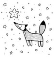 cute fox looking at star coloring page vector image vector image