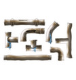 damaged rusted steel pipes realistic set vector image