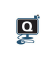 digital technology initial q vector image vector image