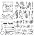 Doodle swirlsribbonsfloral decor element for vector image vector image