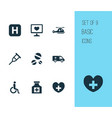 drug icons set with drug pain reliever vector image