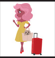 fashionable girl with dog and red suitcase vector image vector image