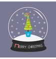 Fir tree toys bow Crystal ball and snowflakes vector image vector image