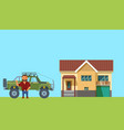 flat design man with home and truck on background vector image