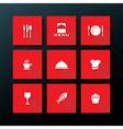 flat restaurant icon set vector image