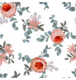 floral seamless pattern with roses and leaves vector image