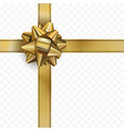 golden bow with ribbon on transparent background vector image