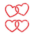 grunge stamp style locked linked love heart shape vector image vector image