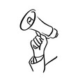 hand of businessman holding megaphone vector image