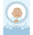 happy african baboy scrapbook blue frame vector image