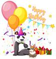 happy birthday panda card vector image vector image