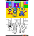 happy robots characters group color book vector image vector image