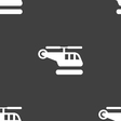 helicopter icon sign Seamless pattern on a gray vector image vector image