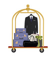 Hotel luggage cart vector image