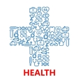 Medical cross symbol made of blue medicine icons vector image