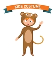 Monkey kid costume isolated vector image vector image