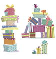 Piles of presents Doodle heaps of gift boxes vector image vector image