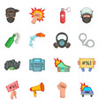 protest items icons set cartoon style vector image vector image