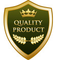 quality product gold shield vector image vector image