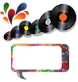 records and speech bubble on white vector image vector image