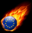 Round glossy icon of european union vector image vector image