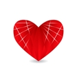 Ruby red heart with faces and shadow Valentine s vector image vector image