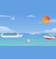 sea boats and little fishing ships sailboats flat vector image vector image