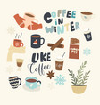 set icons coffee in winter theme cup and mug vector image