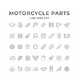 set line icons motorcycle parts vector image vector image