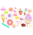 set of isolated sweets on white background vector image vector image