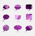 set of purple polygonal geometric speech bubble vector image vector image