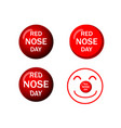 set of red nose icons in design vector image vector image