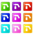spray aerosol can bottle with a nozzle icons 9 set vector image