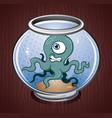 squid octopus cartoon in a fish bowl vector image vector image