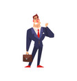 successful businessman character in blue suit vector image vector image